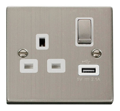 Stainless Steel 1 Gang 13A DP Ingot 1 USB Switched Plug Socket - White Trim