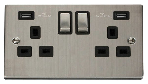 Stainless Steel 2 Gang 13A DP Ingot 2 USB Twin Double Switched Plug Socket - Black Trim