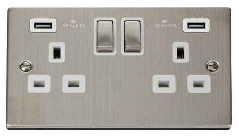 Stainless Steel 2 Gang 13A DP Ingot 2 USB Twin Double Switched Plug Socket - White Trim