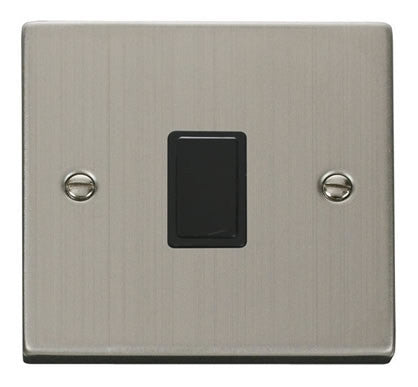 Stainless Steel 1 Gang 20A DP Switch - Black
