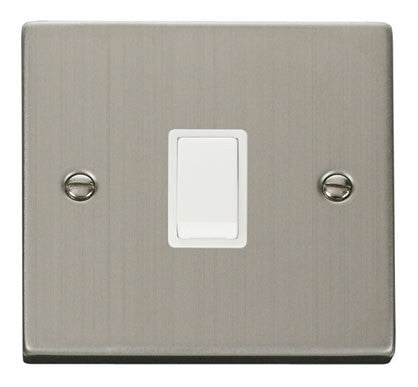 Stainless Steel 1 Gang 20A DP Switch - White Trim