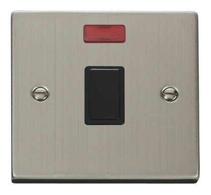 Stainless Steel 1 Gang 20A DP Switch With Neon - Black