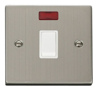Stainless Steel 1 Gang 20A DP Switch With Neon - White