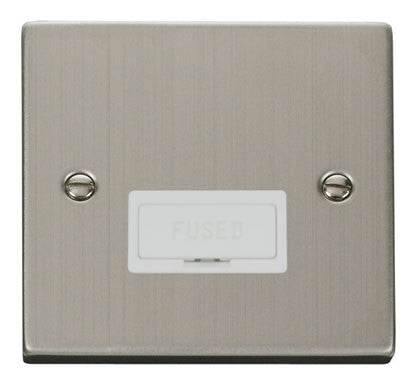 Stainless Steel 13A Fused Connection Unit - White Trim
