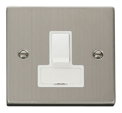 Stainless Steel 13A Fused Connection Unit Switched - White Trim