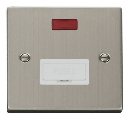 Stainless Steel 13A Fused Connection Unit With Neon - White