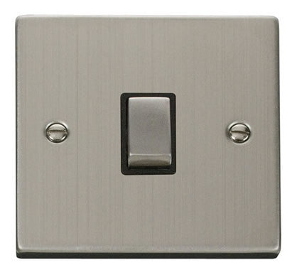 Stainless Steel 1 Gang 20A Ingot DP Switch - Black Trim