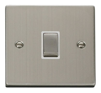 Stainless Steel 1 Gang 20A Ingot DP Switch - White Trim