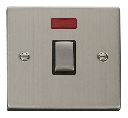 Stainless Steel 1 Gang 20A Ingot DP Switch With Neon - Black