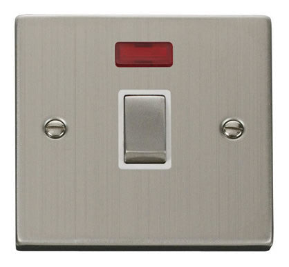 Stainless Steel 1 Gang 20A Ingot DP Switch With Neon - White