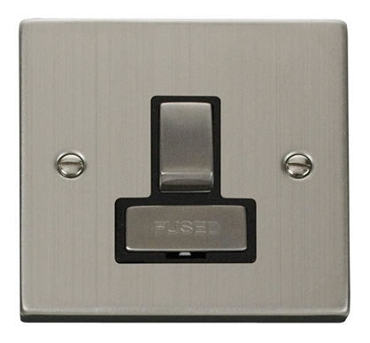 Stainless Steel 13A Fused Ingot Connection Unit Switched - Black Trim