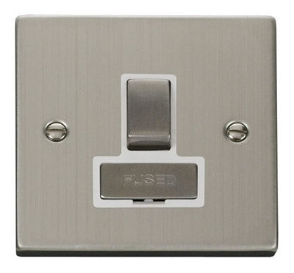 Stainless Steel 13A Fused Ingot Connection Unit Switched - White Trim