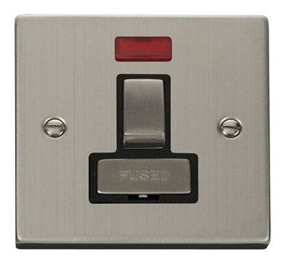 Stainless Steel 13A Fused Ingot Connection Unit Switched With Neon - Black Trim
