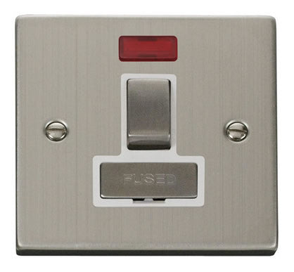Stainless Steel 13A Fused Ingot Connection Unit Switched With Neon - White