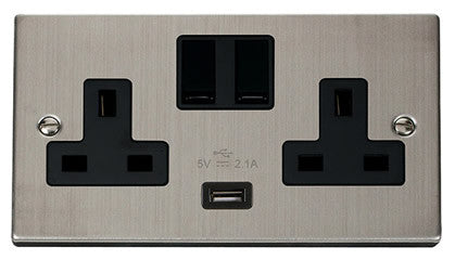 Stainless Steel 2 Gang 13A 1 USB Twin Double Switched Plug Socket - Black Trim