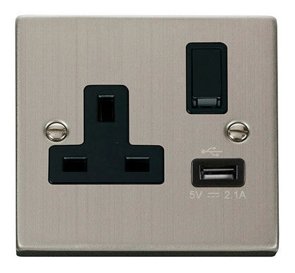 Stainless Steel 1 Gang 13A DP 1 USB Switched Socket - Black