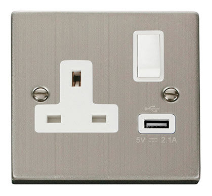 Stainless Steel 1 Gang 13A DP 1 USB Switched Socket - White