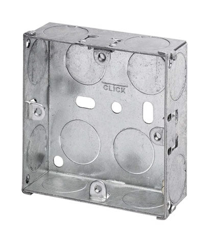 1 Gang 25mm Deep Galvanised Steel K.O. box
