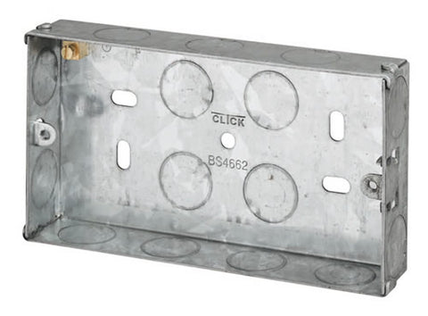 2 Gang 25mm Deep Galvanised Steel K.O. box
