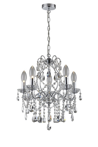 Annalee 5 LED Large Bathroom Ceiling Chandelier in Polished Chrome Finish