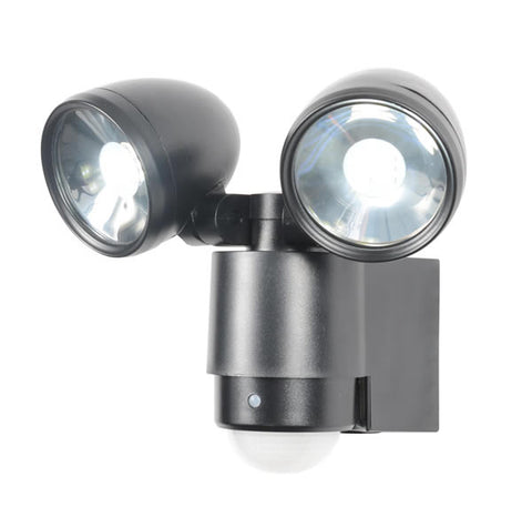 Black Zinc Sirocco Outdoor LED Twinspot Floodlight & PIR -  2 x 3W -  IP44
