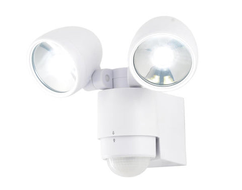 White Zinc Sirocco Outdoor LED Twinspot Floodlight & PIR -  2 x 3W -  IP44