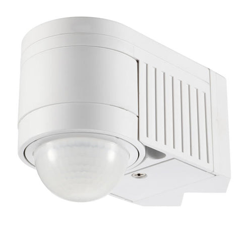 Zinc Alia White IP44 Corner Motion Sensor 12m 360 Degrees 1200W