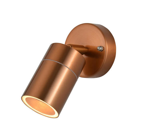 Zinc Leto Copper GU10 2 Light Adjustable Wall Fitting IP44 35W