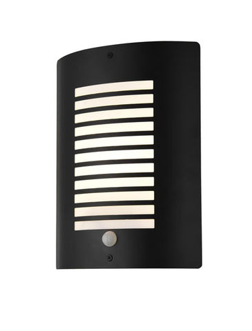 Zinc Sigma Black E27 Thin Slatted Wall Fitting with PIR IP44
