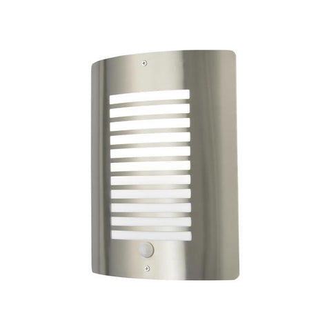 Zinc Sigma Stainless Steel E27 Thin Slatted Wall Fitting with PIR IP44