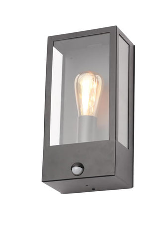 Minerva Single Light Outdoor Wall Fitting in a Black Finish With PIR Sensor