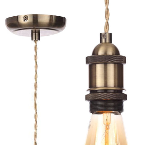 Inlight - Vintage Style Braided Champagne Cable Ceiling Pendant - Antique Brass