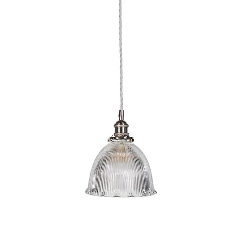 D'Arblay Nickel Scalloped Prismatic Glass Dome Pendant Light