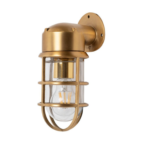 Kemp Lacquered Brass IP66 Rated Outdoor & Bathroom Nautical Wall Light