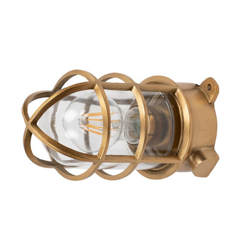 Kemp Lacquered Brass IP66 Grid Outdoor & Bathroom Ceiling Light