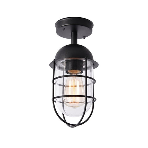 Kari Caged Porch Lantern Light Black
