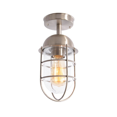 Kari Caged Porch Lantern Light Stainless Steel