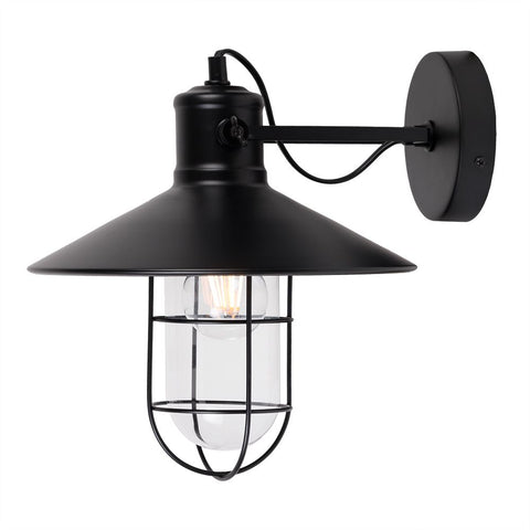 Broadwick Flat Black Caged Indoor Nautical Sconce Wall Light