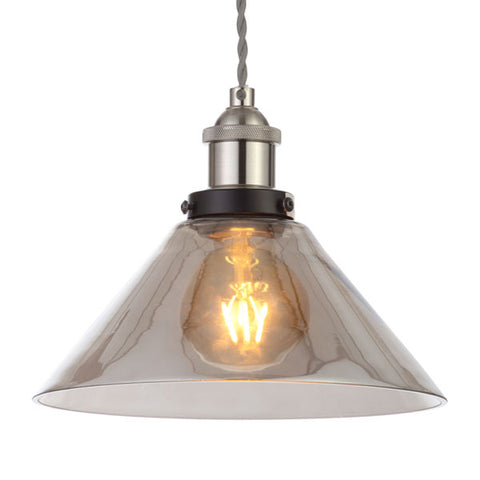 Algol Coolie Easyfit Smoked Glass Pendant Light Shade