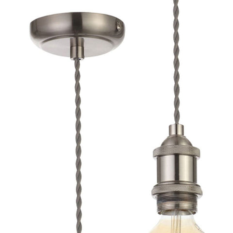 Inlight - Vintage Style Braided Grey Cable Ceiling Pendant - Satin Nickel