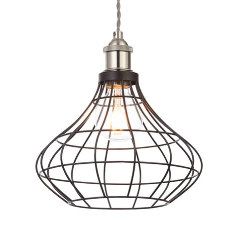 Castor Matt Black Wire Onion Pendant Light Shade