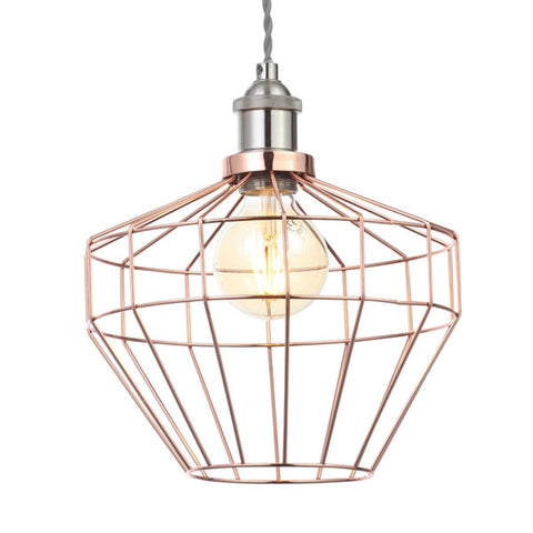 Castor Antique Copper Wire Diamond Pendant Light Shade
