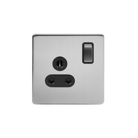 Screwless Brushed Chrome 5 Amp Plug Socket with Switch Black Trim