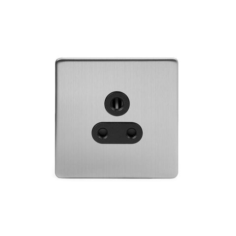 Screwless Brushed Chrome 5 Amp Plug Socket Black Trim Unswitched