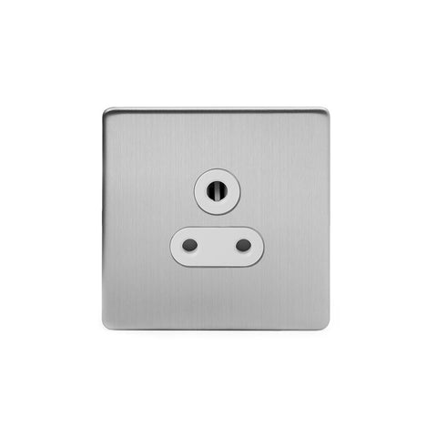 Screwless Brushed Chrome 5a Plug Socket  Unswitched