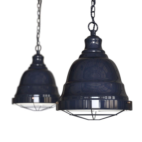 Ganton Vintage Cage Pendant Light Squid Ink Navy Blue