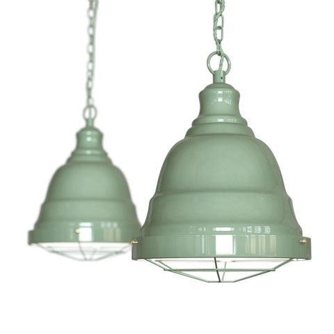 Ganton Vintage Cage Pendant Light Chalk Mint Green