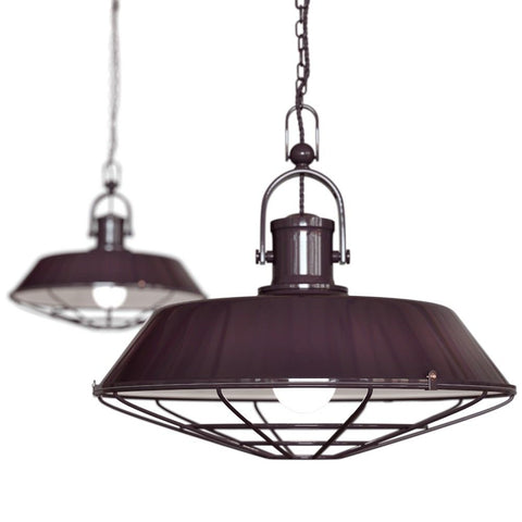 Brewer Cage Industrial  Pendant Light Mulberry Red Burgundy