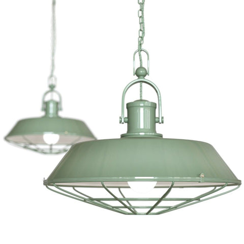 Brewer Cage Industrial  Pendant Light Chalk Mint Green