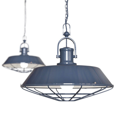 Brewer Cage Industrial  Pendant Light Leaden Grey Slate